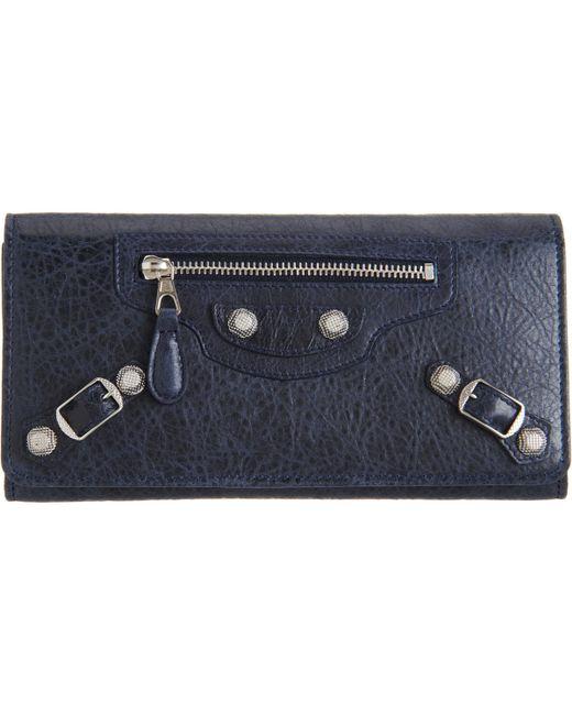 Balenciaga   Blue Classic Mini Envelope Leather Clutch   Lyst