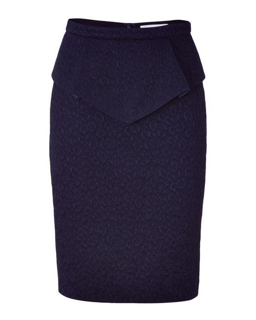 matthew williamson navy peplum structured skirt in blue