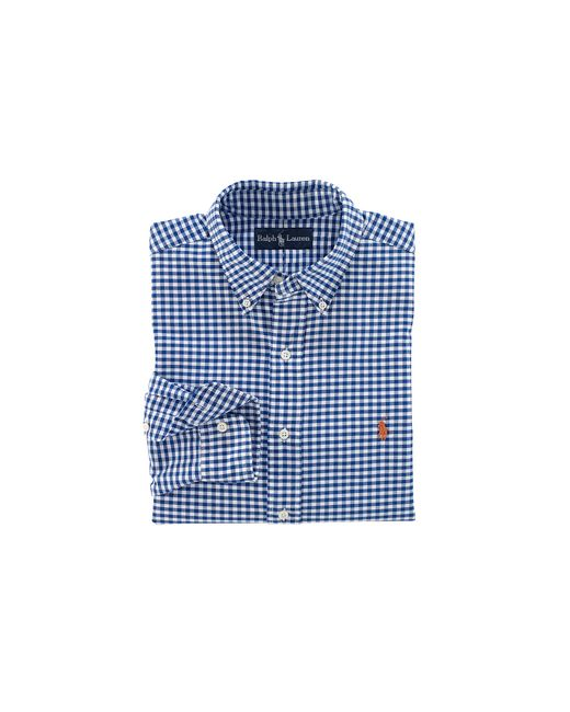 Polo Ralph Lauren | Blue Shirt With Green Tartan Short Sleeves In Slim Fit for Men | Lyst