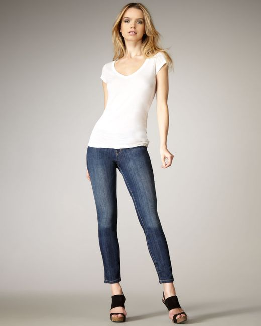 Current/Elliott | Blue The Cropped Straight Mid-rise Distressed Jeans | Lyst