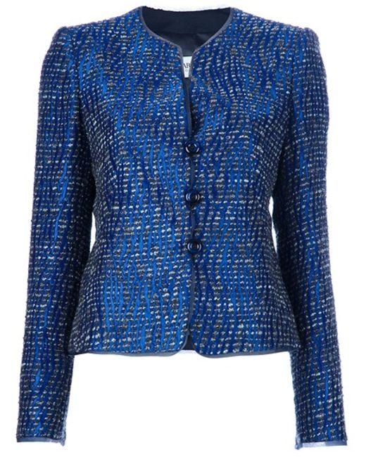 Armani | Blue Button Blazer | Lyst