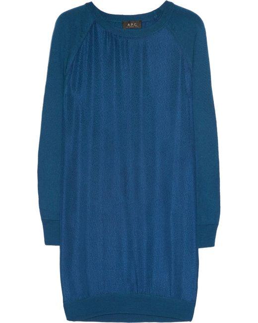 A.P.C. | Blue Silk and Merino Wool Dress | Lyst