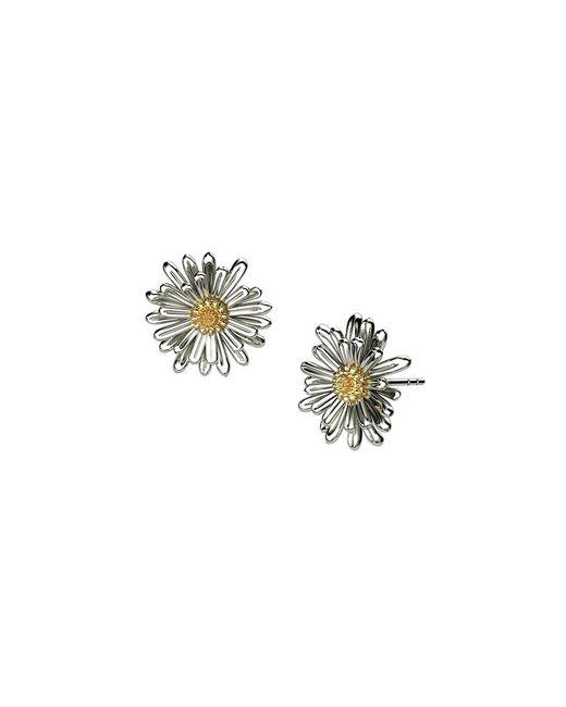 Azendi   Metallic Sterling Silver Daisy Earrings   Lyst