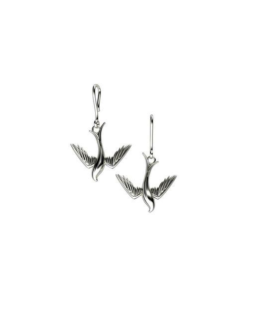 Azendi | Metallic Sterling Silver Swallow Drop Earrings | Lyst