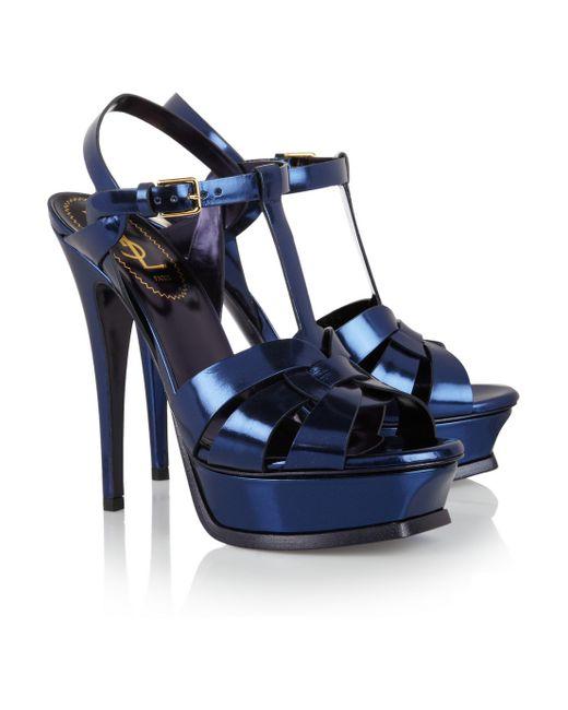Saint Laurent | Blue Tribute Mirrored-leather Sandals | Lyst
