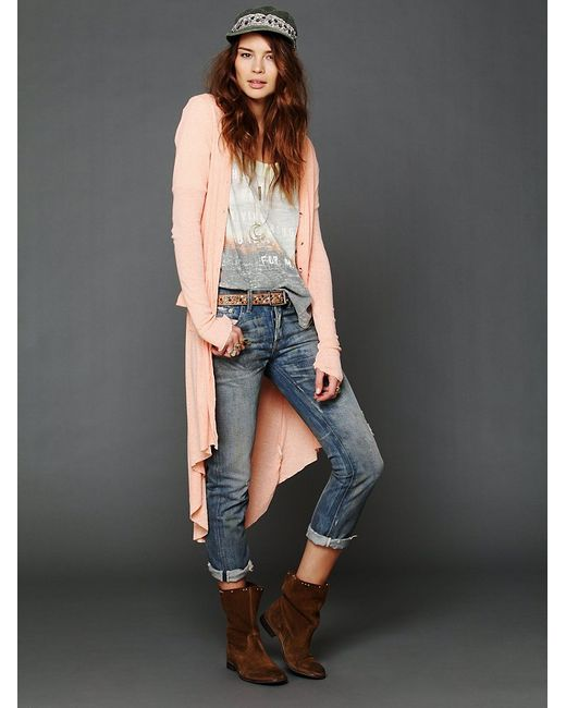 Free People | Pink Ribbed Up Maxi Cardigan | Lyst