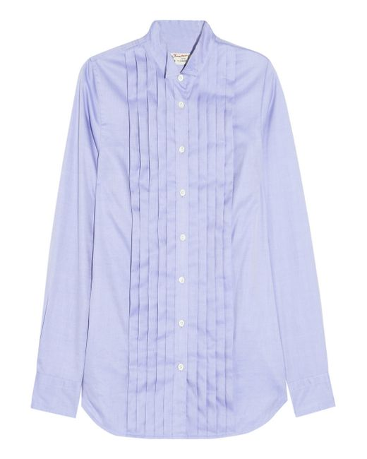 J.Crew | Blue Thomas Mason Pleated Cotton Shirt | Lyst