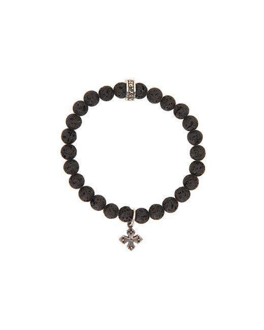 King Baby Studio   Black Onyx & Sterling Silver Beaded Cross Charm Bracelet   Lyst
