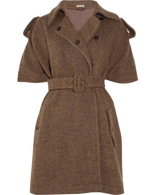Miu Miu   Brown Woolblend Tweed Cape   Lyst