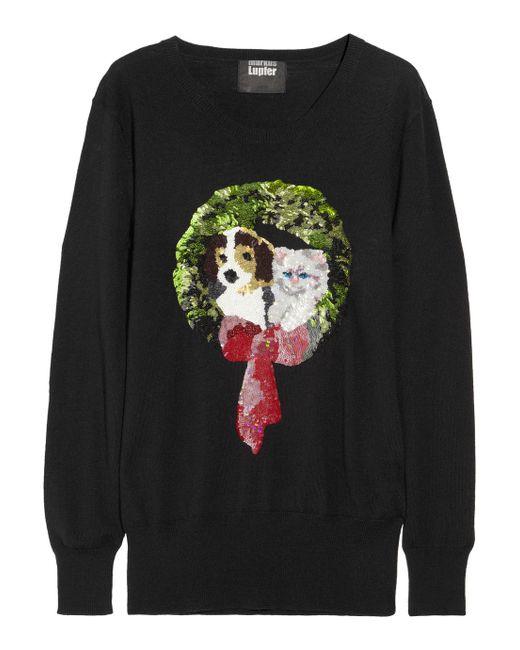 Markus Lupfer | Black Ring Sequined Merino Wool Sweater | Lyst