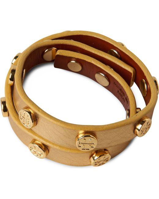 Tory Burch   Metallic Leather Wrap Bracelet   Lyst