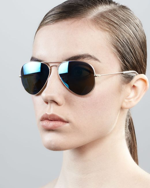 Ray Ban Aviator Sunglasses With Flash Lenses In Blue Gold