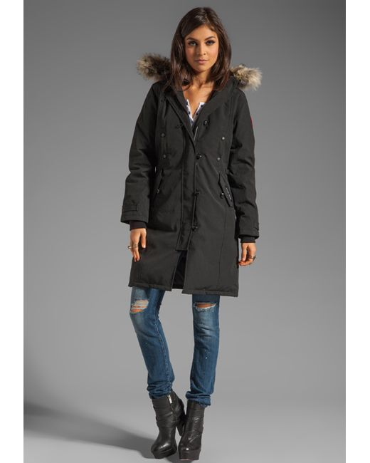 Canada Goose jackets replica official - Canada goose Kensington Parka With Coyote Fur Trim in Black | Lyst