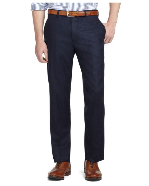 Brooks Brothers | Blue Fitzgerald Fit Plain-front Flannel Dress Trousers for Men | Lyst
