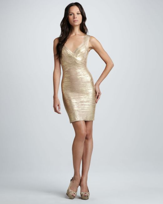 Hervé Léger | Crisscross Metallic Bandage Dress | Lyst