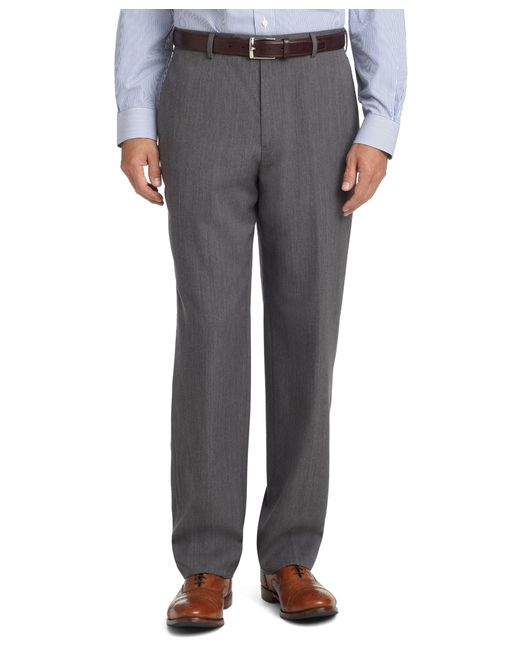 Brooks Brothers | Gray Madison Fit Plain-front Unfinished Gabardine Trousers for Men | Lyst