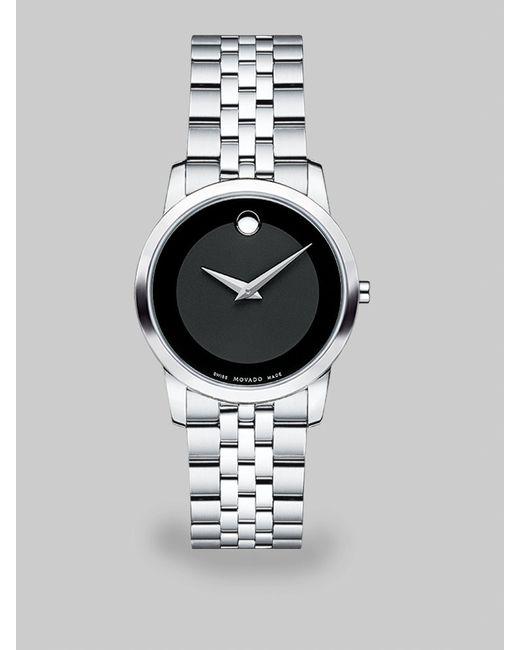 movado museum classic stainless steel amp leather strap