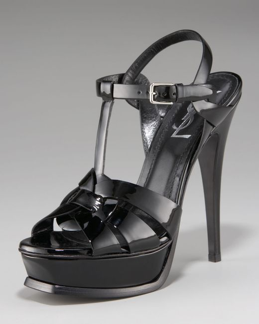 Saint Laurent | Black Tribute Patent Leather Platform Sandals | Lyst
