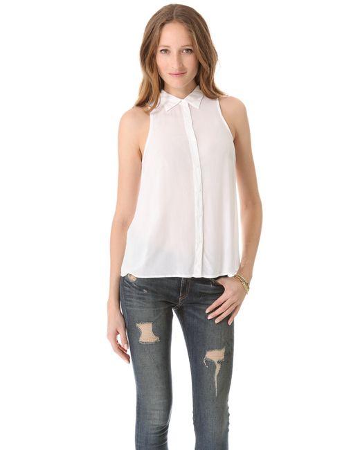Splendid | White Shirting Sleeveless Button Down | Lyst