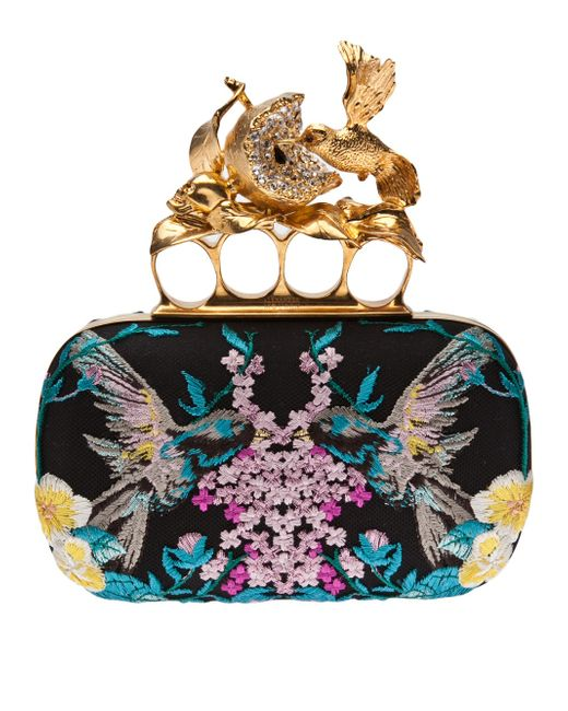 Alexander McQueen | Black Obsession Charm Crystal Embroidered Satin Knuckle Clutch | Lyst
