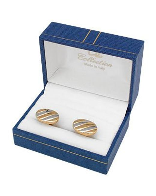 AZ Collection | Metallic Gold And Silver Plated Oval Cufflinks for Men | Lyst