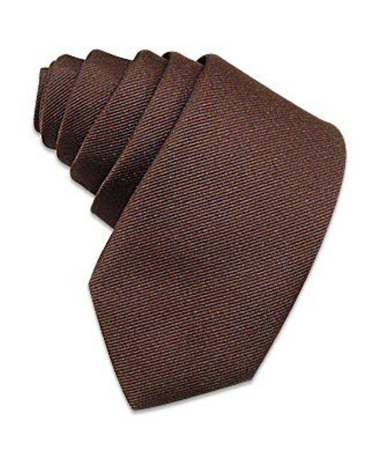 FORZIERI | Solid Brown Twill Silk Narrow Tie for Men | Lyst