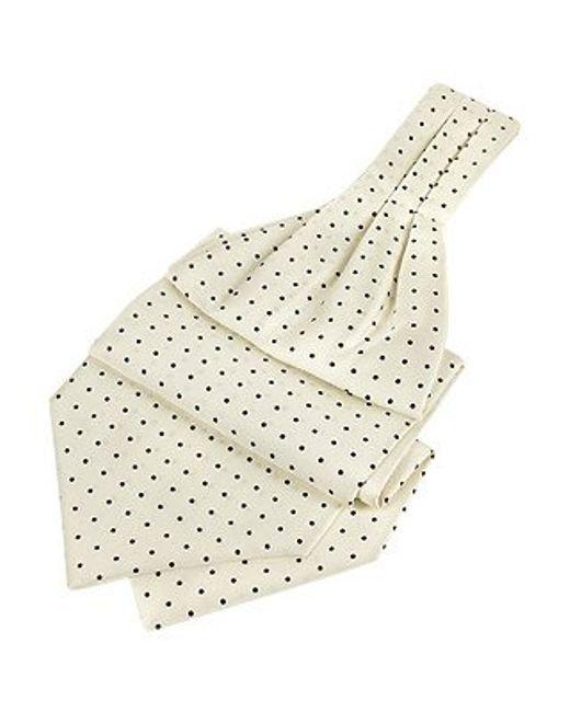 FORZIERI | White Blue Polkadot Pattern Pure Silk Ascot for Men | Lyst