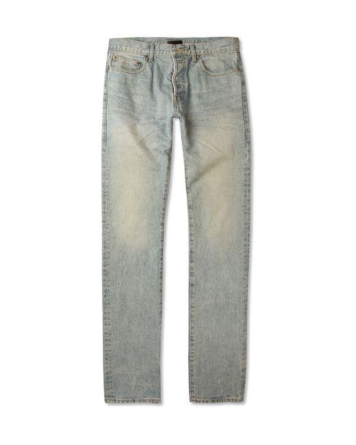 Saint Laurent   Gray 16cm Skinny Dirty Bleached Blue Jeans for Men   Lyst