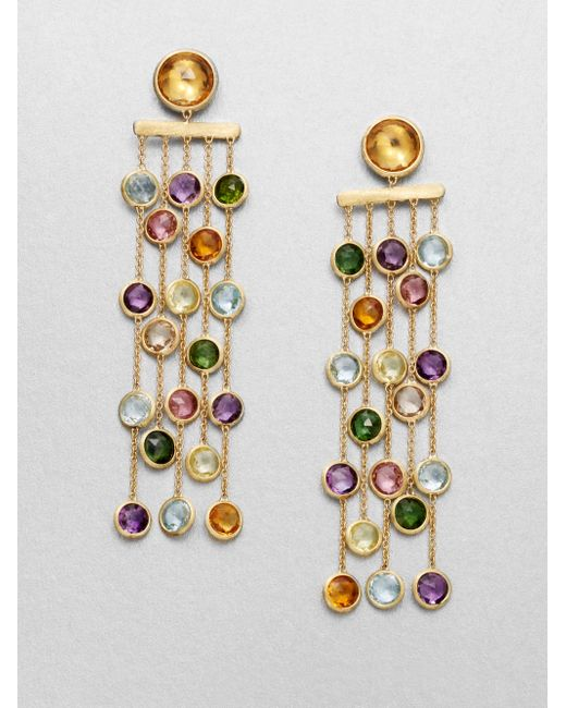 Marco Bicego | Metallic Mini Jaipur Semi-precious Multi-stone & 18k Yellow Gold Five-strand Drop Earrings | Lyst