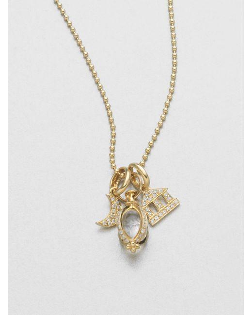 Temple St. Clair | Metallic Classic Rock Crystal, Diamond & 18k Yellow Gold Triple Charm Necklace | Lyst