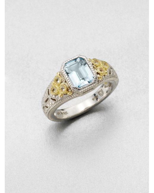 Judith Ripka | Estate Blue Topaz, White Sapphire, 18k Yellow Gold & Sterling Silver Cushion Ring | Lyst