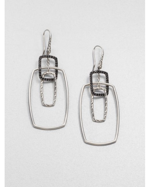 John Hardy | Metallic Classic Chain Black Sapphire & Sterling Silver Rectangular Drop Earrings | Lyst