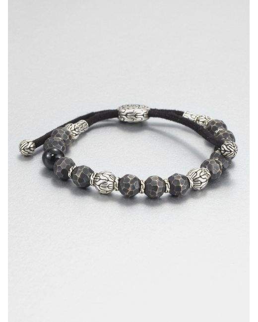 John Hardy | Metallic Black Tourmaline Sterling Silver and Black Bronze Bead Bracelet for Men | Lyst