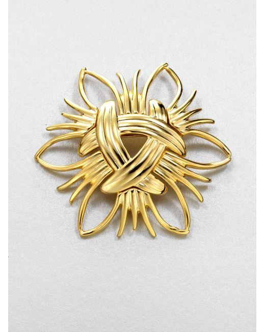 Kenneth Jay Lane | Metallic Abstract Sunburst Pin | Lyst