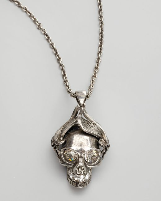 Alexander McQueen | Metallic Silvertone Insect Skull Pendant Necklace | Lyst