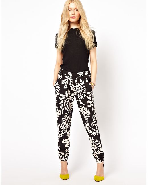 River Island | Black Printed Trousers | Lyst