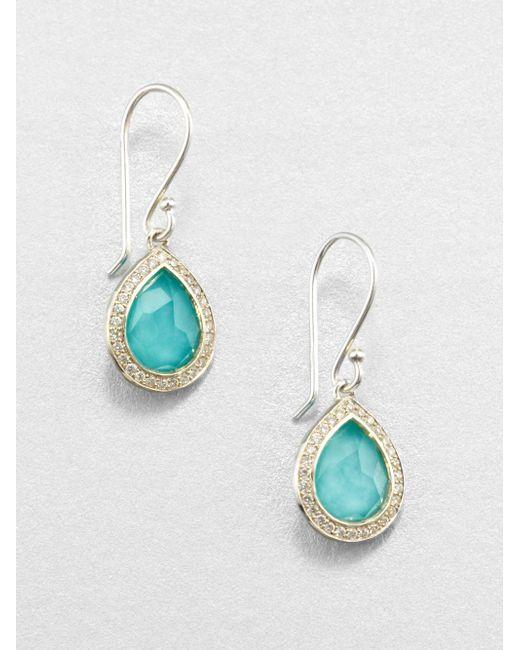 Ippolita | Metallic Stella Turquoise, Clear Quartz, Diamond & Sterling Silver Doublet Teardrop Earrings | Lyst