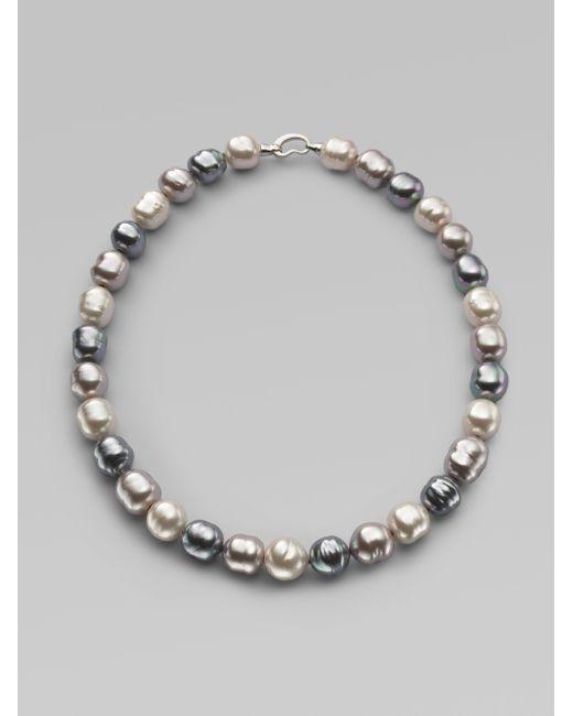 Majorica | Gray 14mm Multicolor Baroque Pearl & Sterling Silver Strand Necklace/20 | Lyst