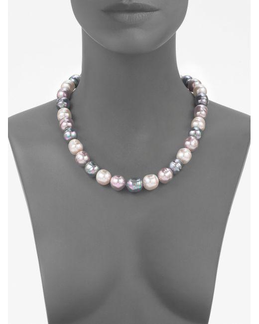 Majorica   Gray 14mm Multicolor Baroque Pearl & Sterling Silver Strand Necklace/20   Lyst