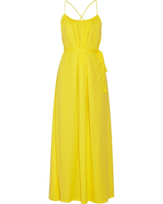 Thakoon Addition | Yellow Superfine Belted Cotton-jersey Maxi Dress | Lyst