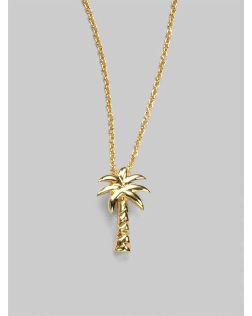 Roberto Coin   Metallic Tiny Treasures 18k Yellow Gold Palm Tree Pendant Necklace   Lyst