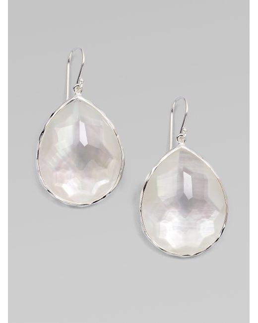 Ippolita | Metallic Wonderland Mother-of-pearl, Clear Quartz & Sterling Silver Large Doublet Teardrop Earrings | Lyst