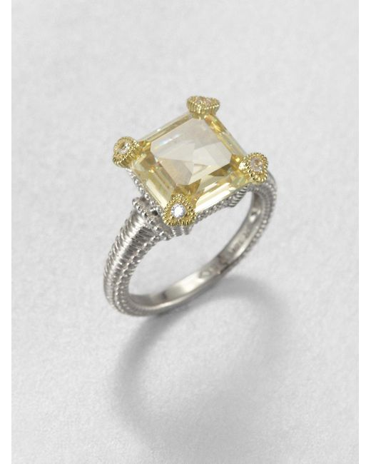 Judith Ripka | Yellow Crystal & Sterling Silver Ring | Lyst