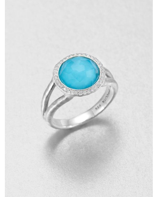 Ippolita | Metallic Stella Turquoise, Clear Quartz, Diamond & Sterling Silver Mini Lollipop Doublet Ring | Lyst