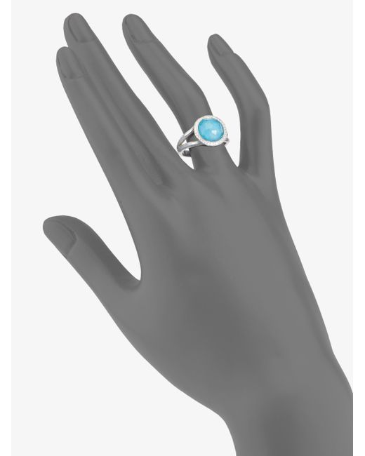 Ippolita | Metallic Stella Turquoise, Clear Quartz, Diamond & Sterling Silver Mini Lollipop Doublet Ring | Lyst