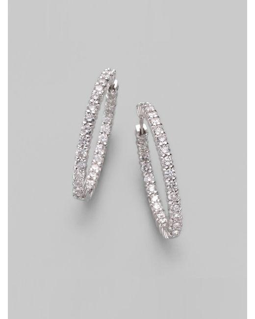Roberto Coin   Metallic Diamond & 18k White Gold Hoop Earrings/1&frac14   Lyst