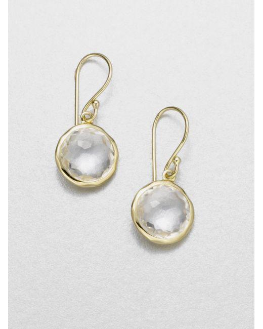 Ippolita | Metallic Lollipop Clear Quartz & 18k Yellow Gold Mini Drop Earrings | Lyst