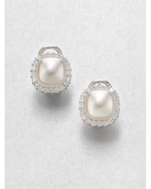 Majorica | 9mm White Mabe Pearl & Sterling Silver Halo Stud Earrings | Lyst