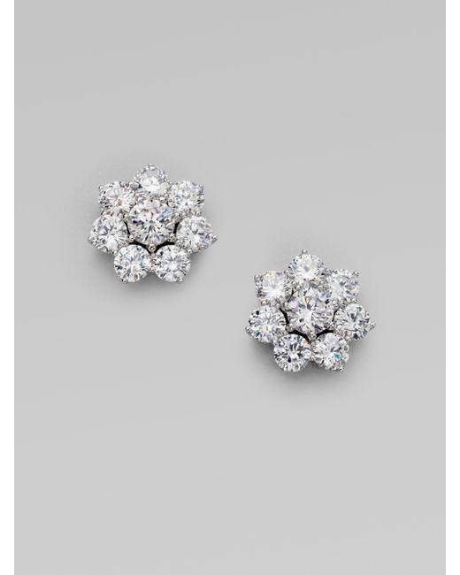 Adriana Orsini   Metallic Sterling Silver Flower Stud Earrings   Lyst