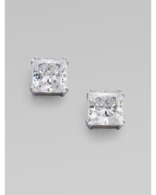 Adriana Orsini | Metallic Sterling Silver Square Stud Earrings | Lyst